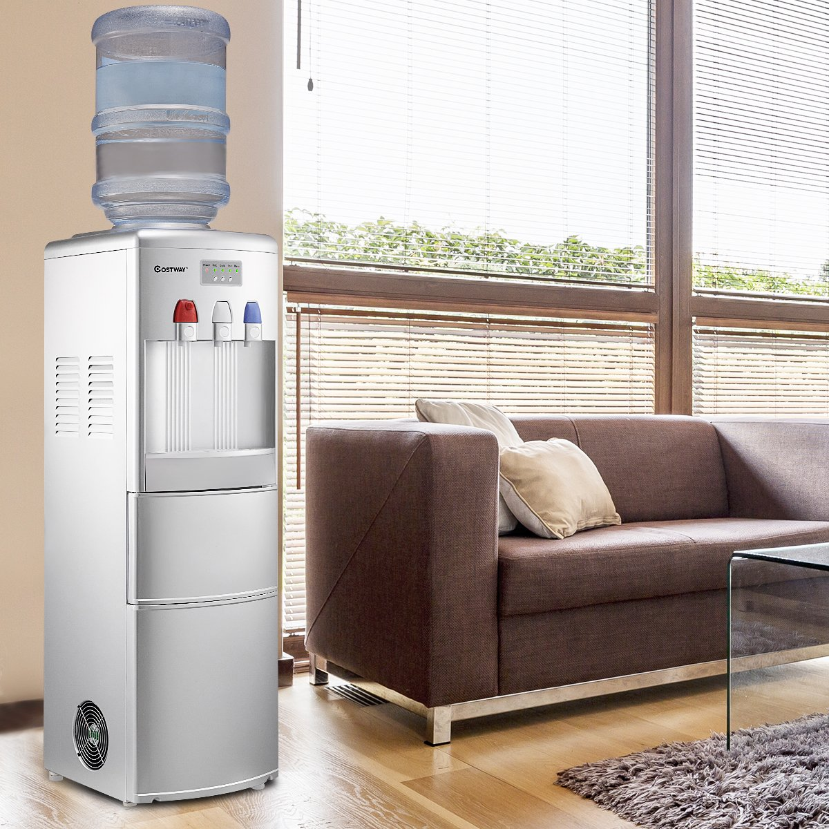 Costway 2-in-1 Water Cooler Dispenser with Built-in Ice Maker Freestanding Hot Cold Top Loading Water Dispenser 27LB/24H Ice Machine with Child Safety Lock, Silver by COSTWAY (Image #7)