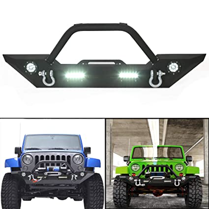 amazon com: rock crawler front bumper w/ledlight winch plate black textured  for 2007-2019 jeep wrangler jk wiring (harness is included): automotive