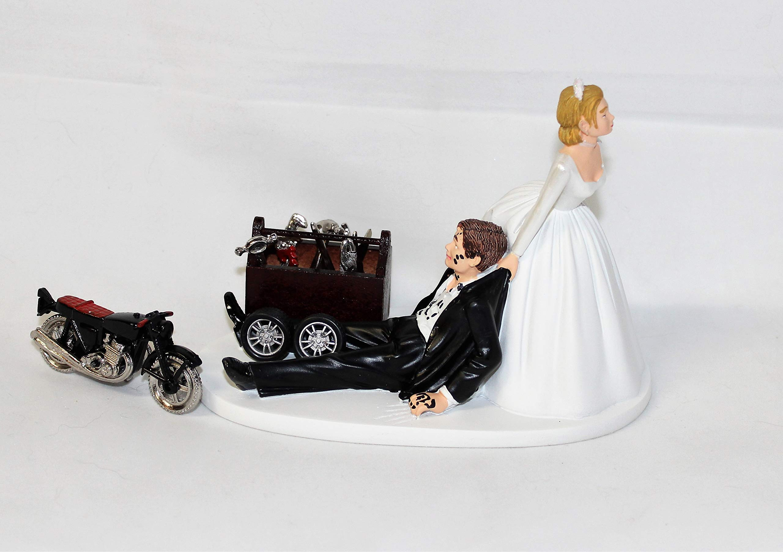 Wedding Motorcycle Biker Garage Mechanic grease Cake Topper by Custom Design Wedding Supplies by Suzanne (Image #1)