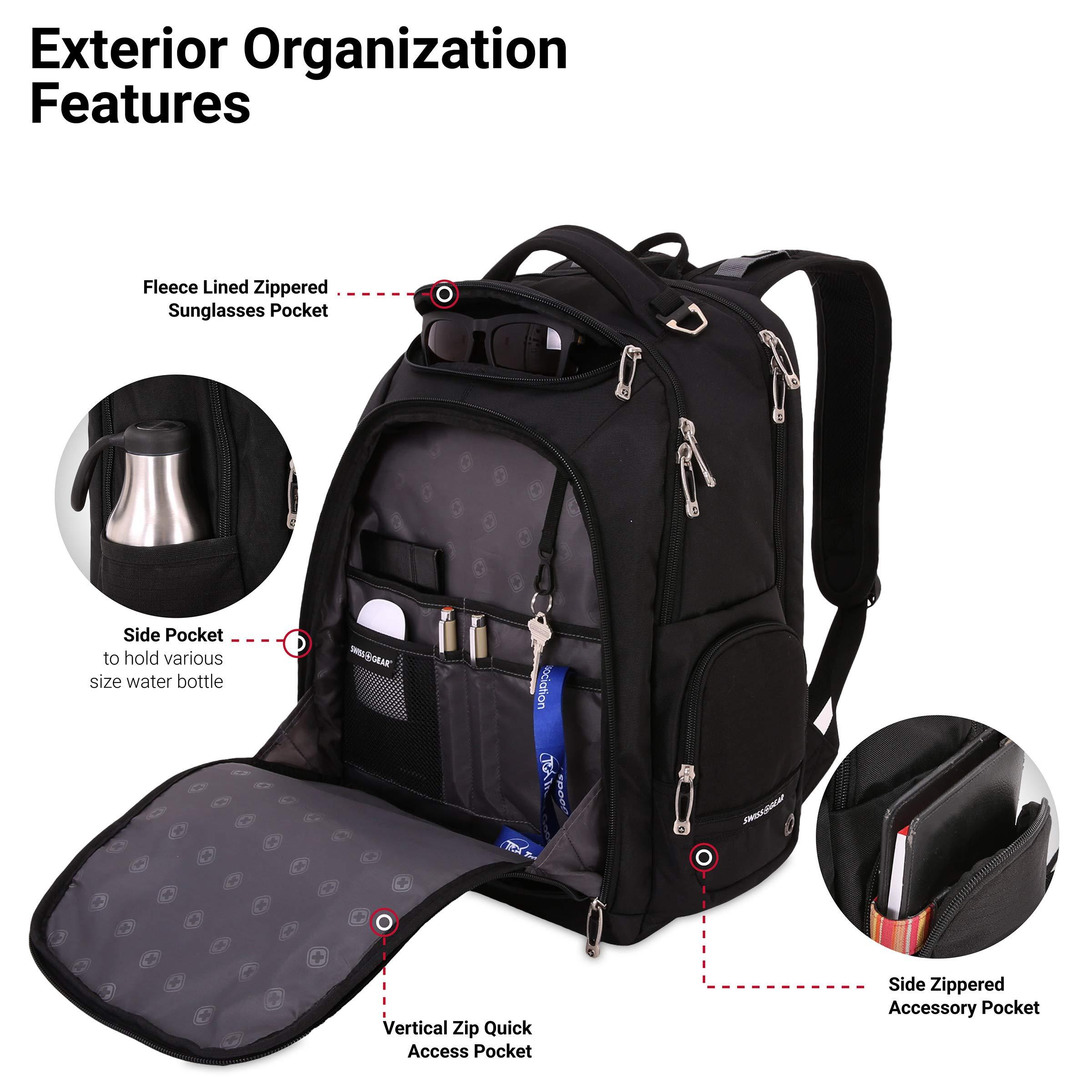 SWISSGEAR Large ScanSmart 15-inch Laptop Backpack   TSA-Friendly Carry-on   Travel, Work, School   Men's and Women's - Black by SwissGear (Image #3)