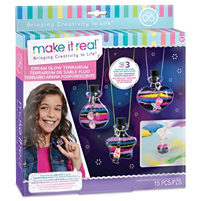 Make It Real – Dream Glow Terrarium - DIY Necklace Making Kit - Arts and Crafts Kit to Design Glowing Necklace - Terrarium Kit for Kids with Glow in The Dark Sand and Charms: Toys & Games