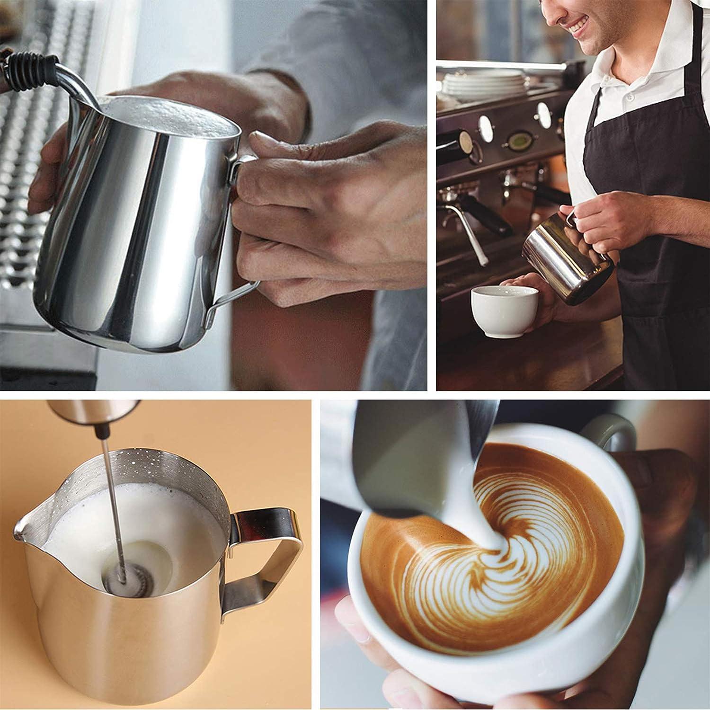 Cappuccino Latte Decorativo per la Caffetteria di Casa 350 ml Brocca da Latte in Acciaio Inossidabile caff/è con Indicatore delle Misure