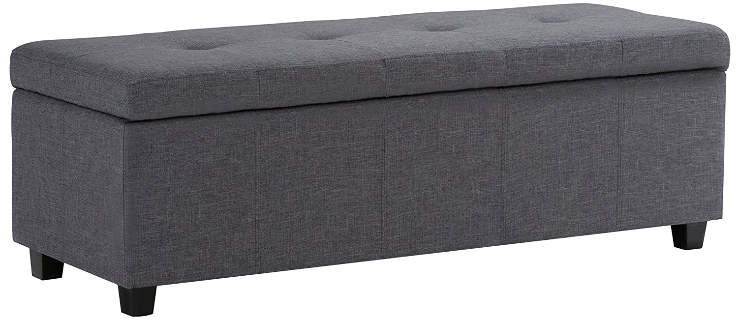 Simpli Home 3AXCOT-241-GL Castleford 48 inch Wide ContemporaryStorage Ottoman in Slate Grey Linen Look Fabric