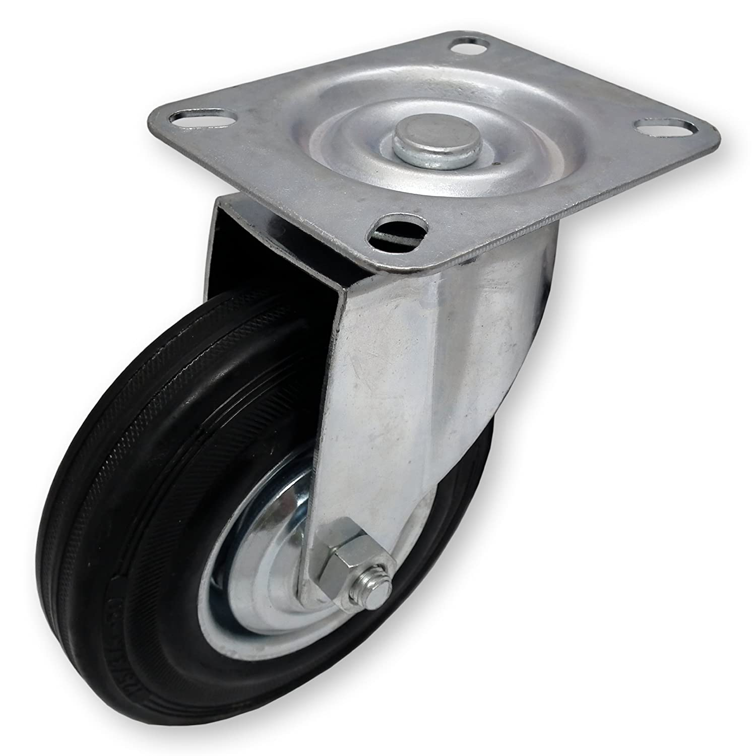 Heavy Duty Swivel Rubber Castor Caster Wheels 125mm Industrial Trolley Wheel NEW