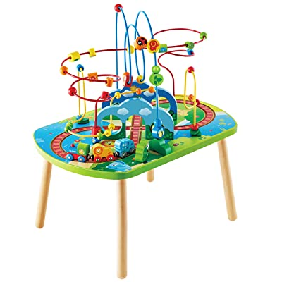 Hape Jungle Adventure Railway Table | Kids Bead Maze Puzzle Table with Accessories, African Scene Graphics, Child Sized Table for Individual and Group Play: Toys & Games