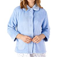 Slenderella Womens Button Up Coral Fleece Bed Jacket Housecoat with Waffle Detail (Small - XXXL)
