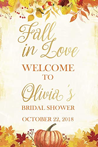 leafy pumpkin autumn bridal shower sign fall season fall in love sign size 36x24 welcome bridal