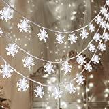 80 LED Christmas Snowflake String Lights Hanging Decorations - Winter Wonderland Lighted Decor for Holiday Xmas Indoor Outdoo