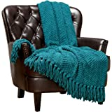Chanasya Super Soft Textured Knitted Throw Blanket Warm Cozy Plush Lightweight Woven Blanket for Bed Sofa Chair Couch Cover Living Room Acrylic Blanket Accent Decor with Tassels Throw Blanket, Polyester, Teal, 50x65 Inches