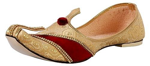 41eaedfe23ec Vision Art Men s Silk Golden   Red Wedding   Sherwani Mojaris (Jutti ...