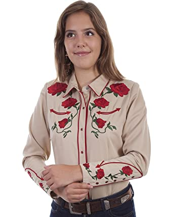 6f2f3e1c41e68c Scully Women's Rose Embroidered Western Shirt - Pl871-Tan at Amazon ...
