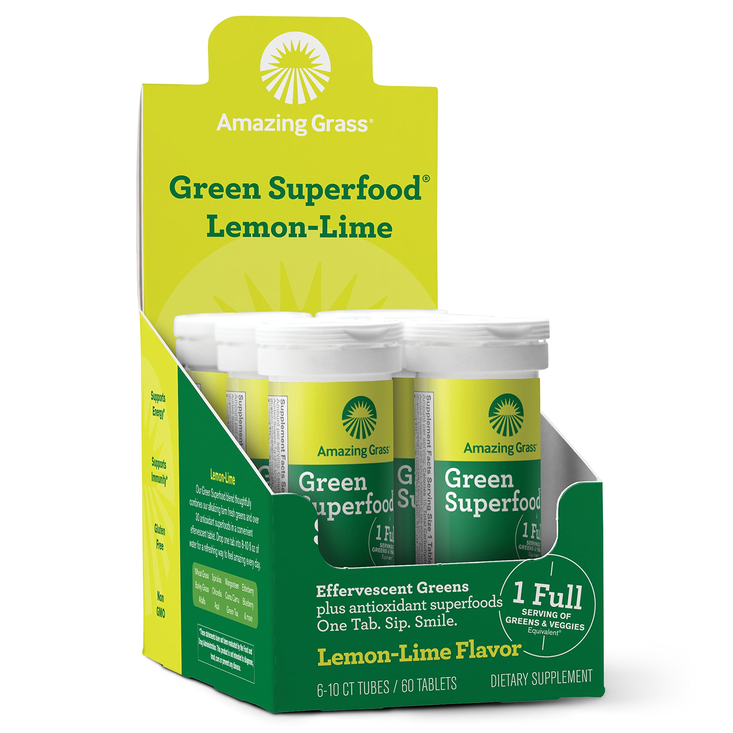 Amazing Grass, Green Superfood Effervescent, Flavor: Lemon Lime, 60ct Tablets, with Alkalizing Greens and Antioxidant Blend