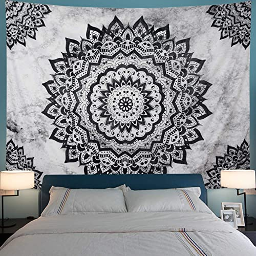 Black and White Tapestry Mandala Tapestry Bohemian Flower Wall Tapestry Psychedelic Hippie Tapestry Wall Hanging for Bedroom XL-70.8 94.5 , Black White