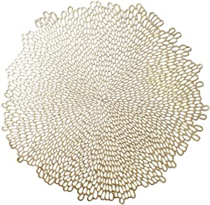 "Benson Mills Blossom Pressed Vinyl Placemat, (Set of 4), 15.5"" , Gold"
