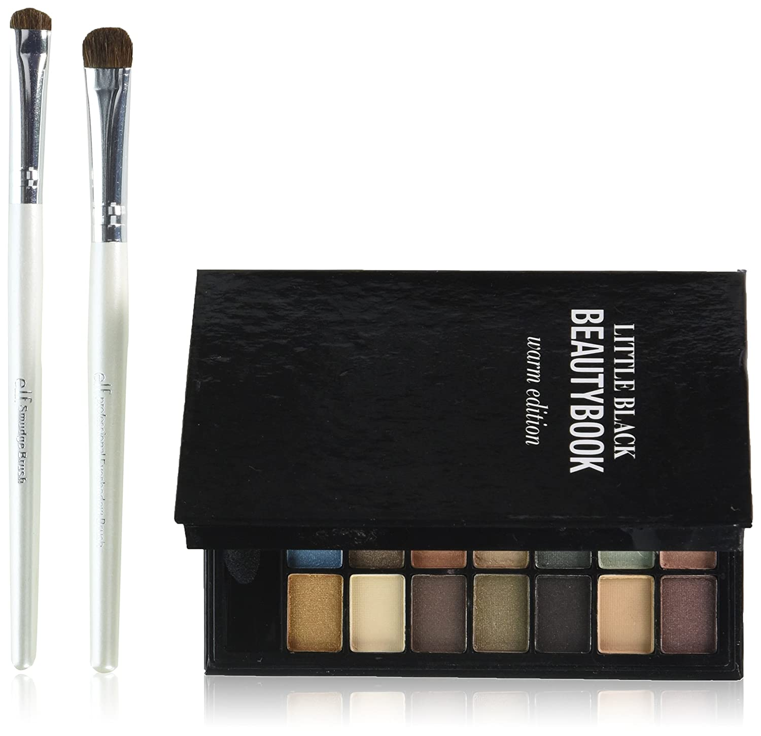 e.l.f. Cosmetics Little Black Beauty Book, Includes 48 Silky Eyeshadows and Two Brushes, Great for Travel