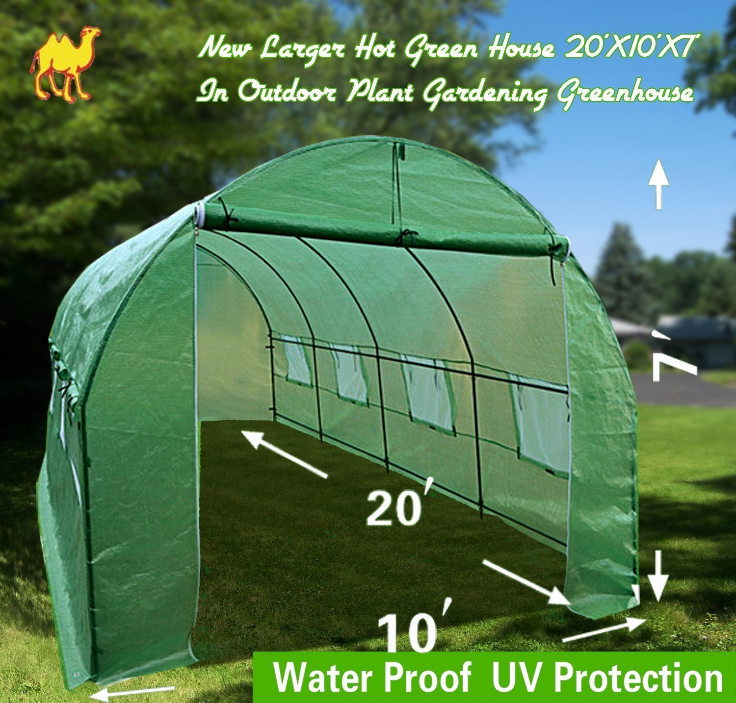 Strong Camel New Larger Hot Green House 20'X10'X7' in Outdoor Plant Gardening Greenhouse