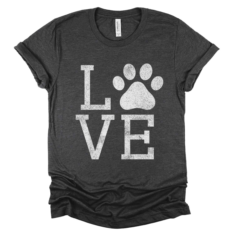 Love Dog Bella+Canvas Women/'s T-Shirt Gifts for Her Dog Lover T-Shirt Dog Mom T-Shirt Paw Print Dog Lover Shirt