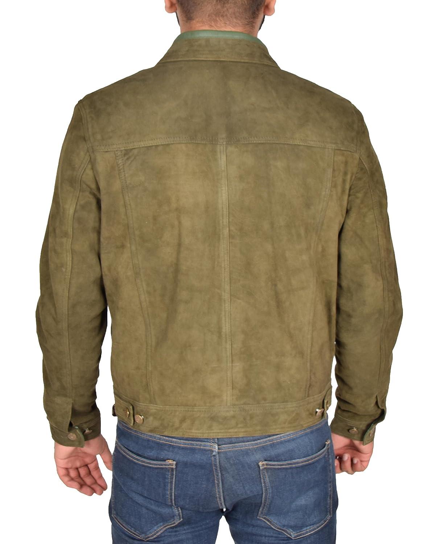 Herren Trucker Freizeit Khaki Ziege Wildleder Hemd Jeans Jacke