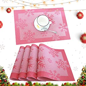 profurni Placemats for Dining Table Kitchen Table Mats Set of 4 Washable PVC Heat Resistant Place Mats Stain Resistant Non-Slip Placemat for Hotel Office,Snow Red