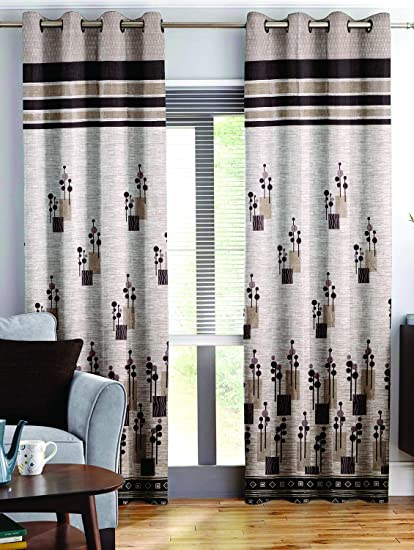 Story At Home Berry Blackout 1 Piece Jacquard Window Curtains For Living Room And Bed Room Contemporary Pattern 5 Feet Long Brown