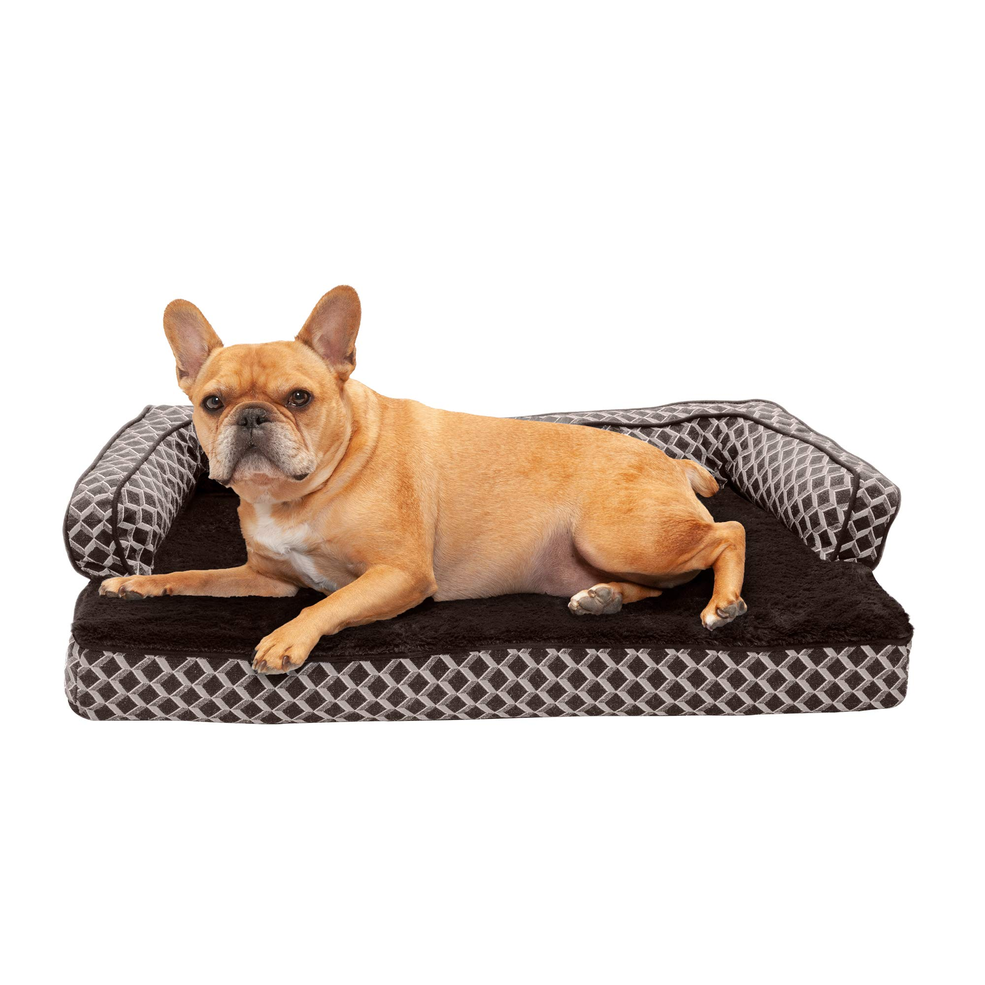 Furhaven Pet Dog Bed   Memory Foam Plush Faux Fur & Décor Comfy Couch Traditional Sofa-Style Living Room Couch Pet Bed w/ Removable Cover for Dogs & Cats, Diamond Brown, Medium by Furhaven