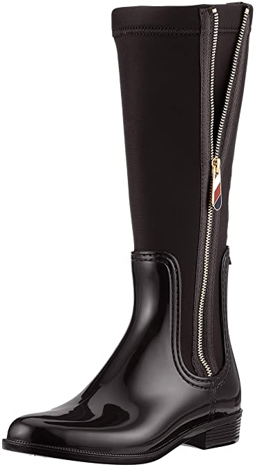 b7295c6bc35 Tommy Hilfiger Material Mix Long Rain Boot Bottes Hautes Femme