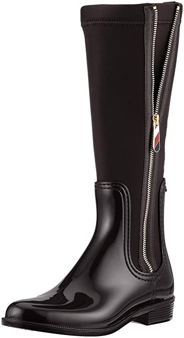 d3b8924d00f1 Tommy Hilfiger Women s Material Mix Long Rain Boot High (Black 990) ...