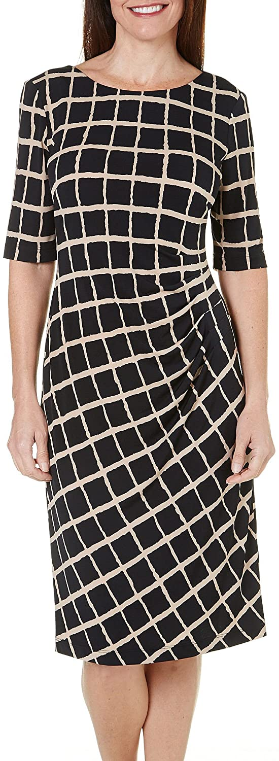Connected Apparel Womens Matte Jersey Elbow Sleeves Wear to Work Dress