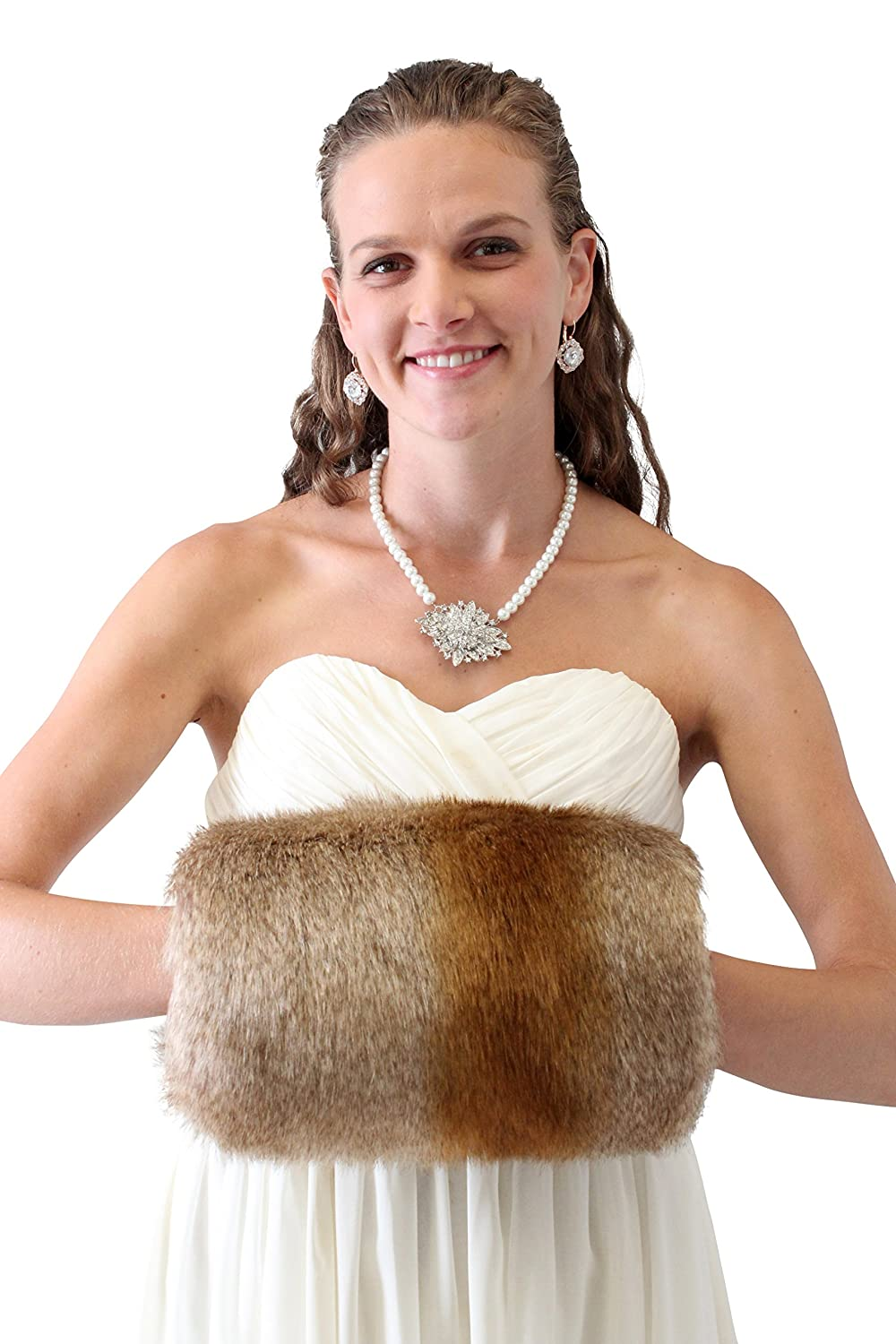 Tion Bridal Women's Faux Fur Handmuff Large Tion Design Bridal Fur Muff Fur Warmer 270F-VBRN