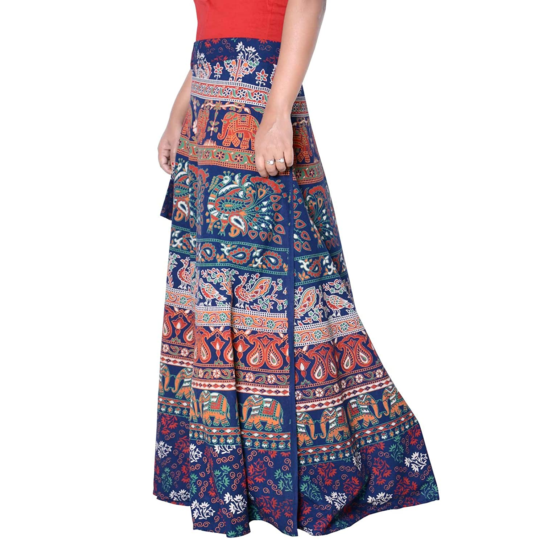 ec4ea85a08 Sttoffa Indian Mandala Block Print Cotton Peasant Boho Gypsy Summer Skirts  Blue Color Free Size Skirt 40 Length Skirt D2 at Amazon Women's Clothing  store: