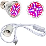LED Plant Grow Light Bulb Lamp Full Spectrum 40W & Pendant Light Socket E27 E26 With Switch for Hydroponics Gardening, Flower & Veg, Indoor Growing, Greenhouse, Potted Plants & Indoor Garden