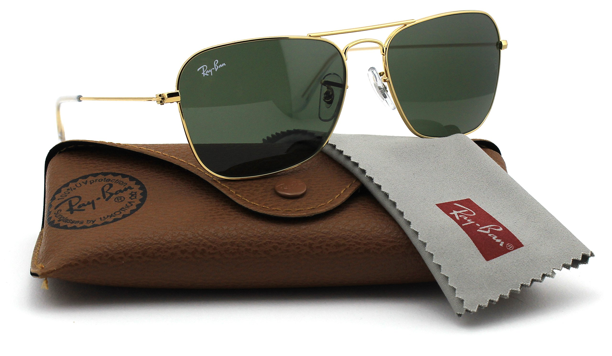 Ray-Ban RB3136 001 Caravan Sunglasses Gold Frame / Green Classic Lens 55mm