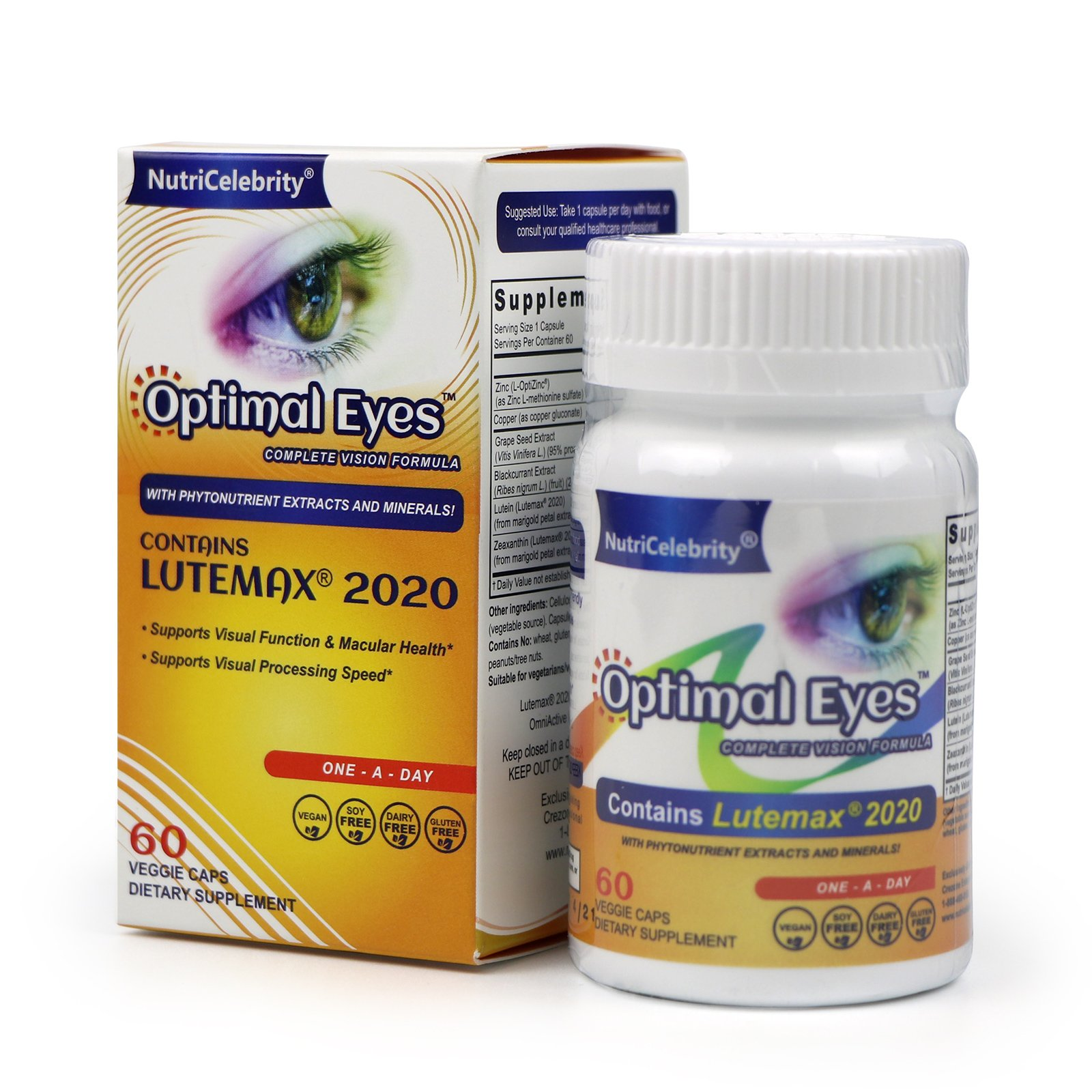 Nutricelebrity Optimal Eyes - Natural Eye Vitamins - Marigold Lutein and Black Currant - Lutemax Zeaxanthin - Eye Health and Macular support - Vegan 60 caps - Non-GMO - Made in USA