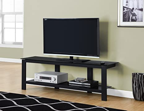 Amazon Com 60 L Black Metal With Black Tempered Glass Tv Stand