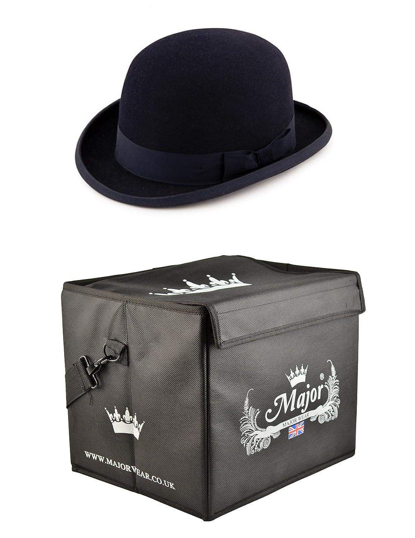 Major tragen schwarz Wollfilz steif Bowler Hat Satin gefüttert mit Hat Box
