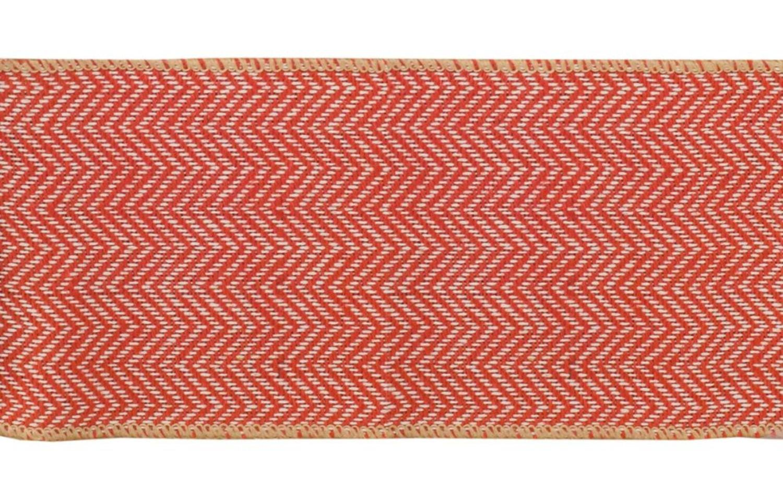 "Melrose Burnt Orange and Tan Beige Chevron Wired Craft Ribbon 4"" X 60 Yards"