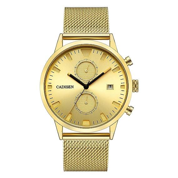 CADISEN Cronógrafo de Lujo Oro clásico Impermeable 43 mm Caso de Cuarzo para Hombre Relojes con Malla de Acero Banda C2023MGGG: Amazon.es: Relojes