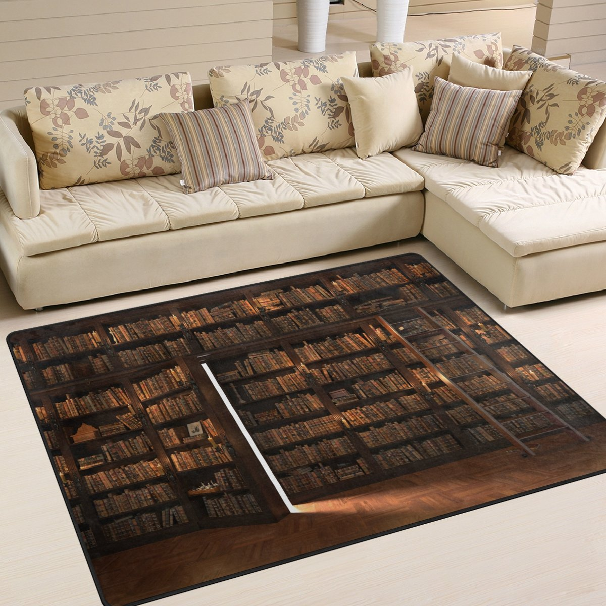 ALAZA Secret Door in the Bookcase Bookshelf Back to School Library Area Rug Rugs for Living Room Bedroom 7' x 5'