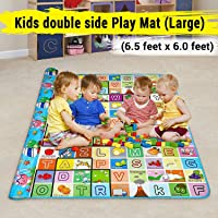 Baby mat Waterproof Zemic Double Sided Mat Kids Infant Crawling Play Mat Carpet Baby Gym Baby Play & Crawl Mat(Large Size - 6.5 Feet X 6 Feet) Colors and Designs May Very (Assorted Colors and Design)