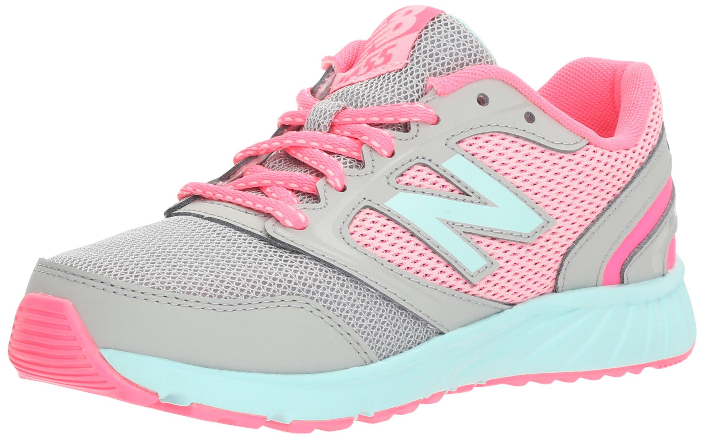 New Balance Girls\u0027 455 Running Shoe, Grey 1/Pink, 4.5 M US