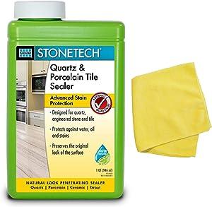 STONETECH Quartz & Porcelain Tile Sealer (1 Quart) Bundled with Microfiber Cleaning Cloth