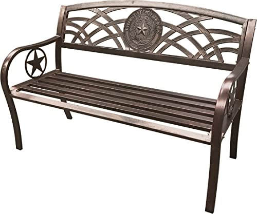 Leigh Country TX 93545 Texas State Seal Metal Bench