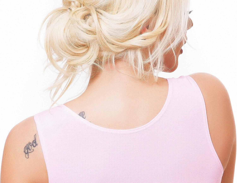 Evoni Body pour femme avec col rond et bretelles larges Sous-v/êtement avec coupe optimale Crochets de fermeture