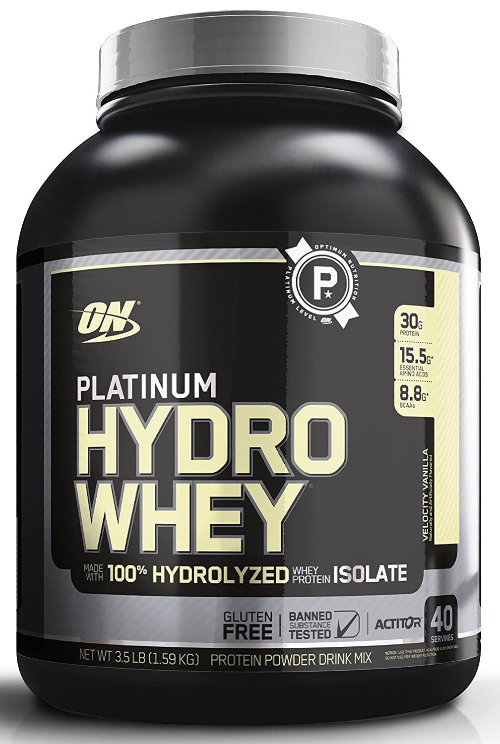 OPTIMUM NUTRITION Platinum Hydrowhey Protein Powder, 100 Hydrolyzed Whey Protein Powder, Flavor Velocity Vanilla, 3.5 Pounds