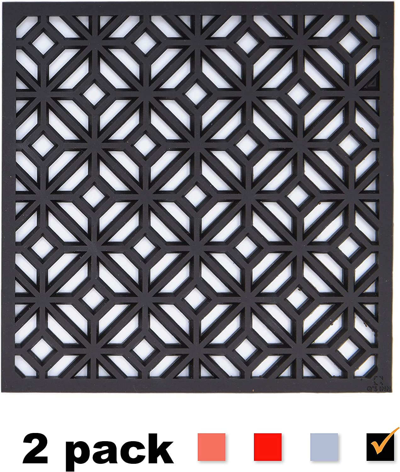Silicone Trivet for hot Dishes Pots and Pans our Decorative Table Mats can be used as Pot Holders and Oven Mitts Coasters Jar Openers and are Microwave safe. Set of 2 Potholders by Q's INN.