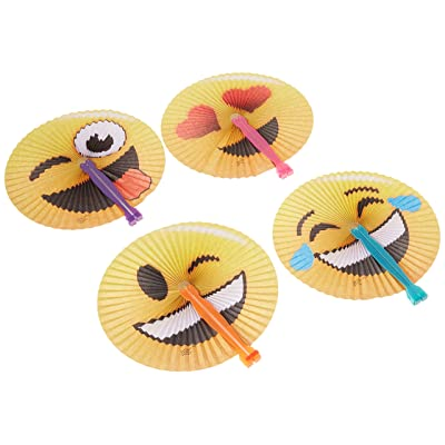"24 Pack - 10"" Emoji Face Paper Folding Fans and 1 Vortex Eraser - Party Favors, Goody Bags, Stocking Stuffers, Theme Parks, Concerts, Prizes, Pool, Beach, Easter Baskets: Toys & Games"