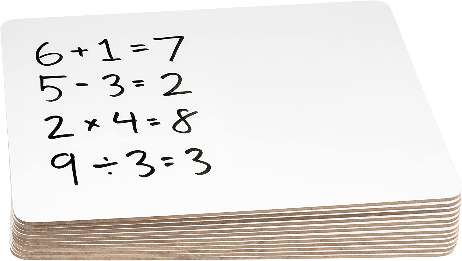 Stack of dry-erase whiteboards with math problems written on them.