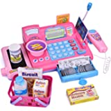 Cash Register Toy Set for Kids Pretend & Play with Groceries Checkout Educational Learning Toys Register Coins Play Money Key with Electronic Sounds 33 PCs