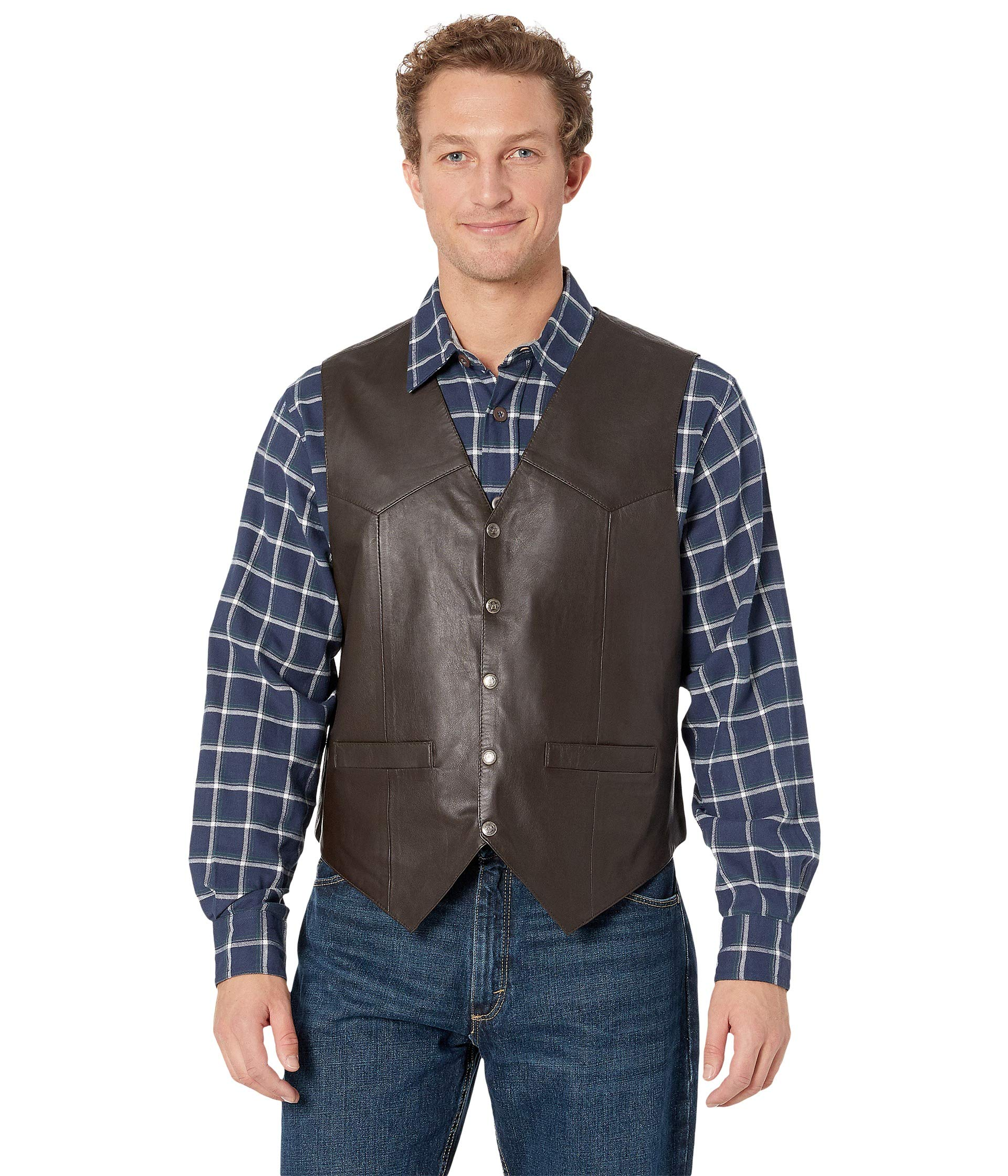 Scully Men's Leather Vest Brown X-Large by Scully