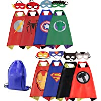 Mizzuco Cartoon Dress Up Costume Satin Capes with Felt Masks for Kids